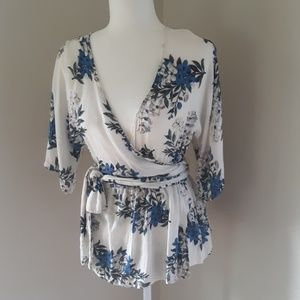 Lulus Blue Floral Wrap Blouse